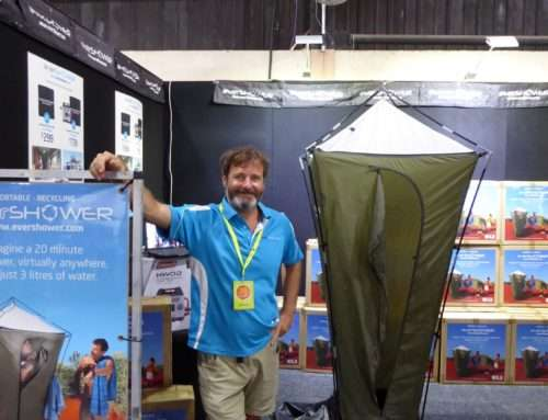 Portable camping shower display – Newcastle
